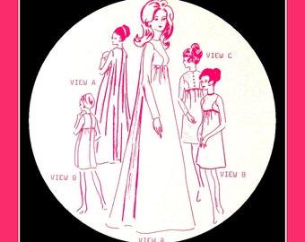Vintage 1960s Stunning HAWAIIAN WEDDING Gown-Sewing Pattern- Dramatic Full Fan Back -Empire Waist -Three Styles Dress -Uncut- Size 12- Rare