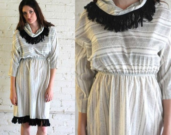 Vintage 80's FRINGED COWL Neck Striped Dress Size S/M