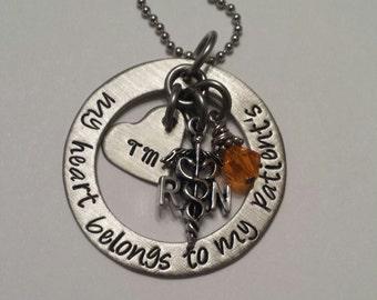 JBK My heart belongs to my patients necklace