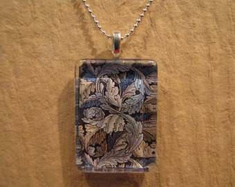 "William Morris Blue Acanthus Leaf Wallpaper Rectangle Glass Pendant with 24"" Ball Chain Necklace Arts and Crafts Jewelry"
