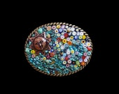 Reserved for Michelle--Southwestern Murano Millefiori Turquoise and Copper Sun Mosaic Belt Buckle