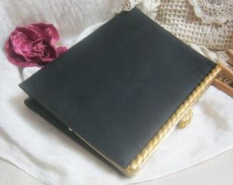 Vintage black matte satiny evening bag,   goldtone braided frame clasp eveing bag, back hand grip formal bag by After Five