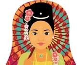 Burmese, Myanmar Matryoshka Art Print, Kids Wall Art