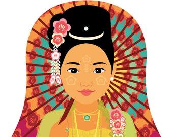 Burmese Myanmar Wall Art Print featuring traditional dress drawing in a Russian matryoshka nesting doll shape