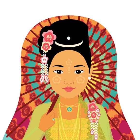 Burmese Myanmar Wall Art Print featuring traditional dress drawing in a Russian matryoshka nesting doll shape