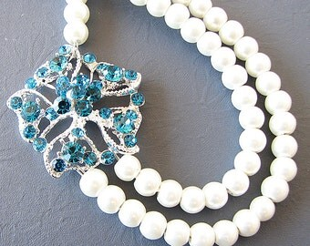 Bridal Jewelry Wedding Necklace Wedding Jewelry Rhinestone Necklace Blue Necklace Pearl Bridesmaid Gift