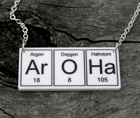 White  Ar O Ha   Necklace ... periodic table inspired jewelery