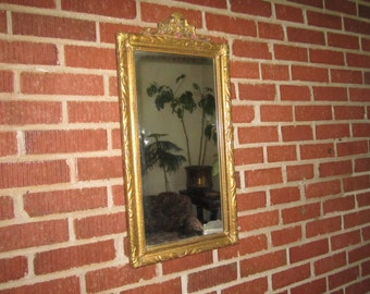 Vintage 1920s Art Deco Gorgeous Ornate Wood and Gesso Hanging Wall Mirror