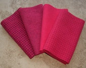 "Hand Dyed Wool Felt,  STRAWBERRY, Four 6.5"" x 16"" pieces in Deep Coral Pink"