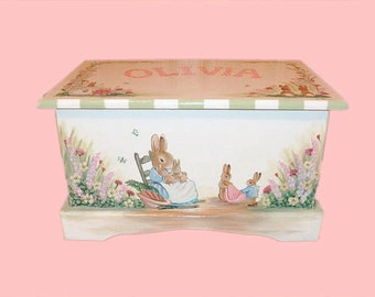 Toy Box Custom Designed Inspired by Peter Rabbit with Monogram or Name, kids furniture, art and decor, wooden toy box