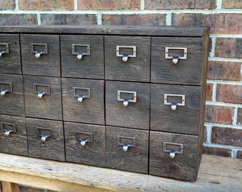 YOUR Reclaimed and Recycled Barn Wood Card Catalog Storage Box With 15 drawers and FREE SHIPPING