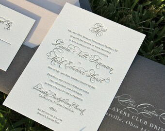 Blush and Charcoal Wedding Invitations, Letterpress Wedding Invites, Monogram Invitations, Blush Wedding