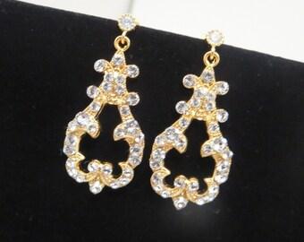 Bridal earrings, Swarovski earrings, Bridal jewelry, Gold earrings, Wedding earrings, Swarovski crystal earrings, Vintage style earrings