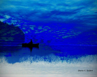Boat Photomontage Art, Rowboat Silhouette, Cobalt Blue Water, Cloudy Day, Fishing Nautical, Wall Hanging, Home Decor, 11 x 14, Giclee Print