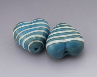 Turquoise Blue Handmade Lampwork Heart Beads White Stripes Earring Pair Heather Behrendt BHV SRA LETeam