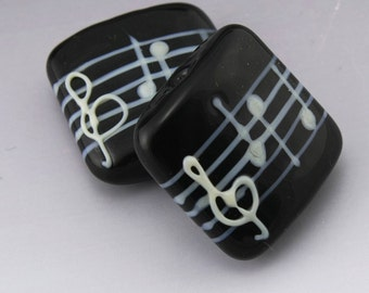 Black  Music Square Kalera White Notes Treble Clef Handmade Lampwork Earring Pair Heather Behrendt BHV SRA LETeam