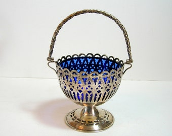 Silver Plated Pedestal Basket With Cobalt Glass Bowl