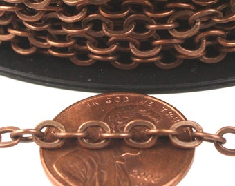 Antique Copper Chain Bulk Chain, 50 ft of Antique Copper Large BIG Flat Cable Chain - 4X3.5mm SOLDERED link - Ship from California USA