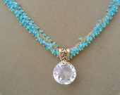 Stinson Beach -- Rock Crystal Quartz and Aqua Chalcedony Cluster Chain Focal Pendant Necklace