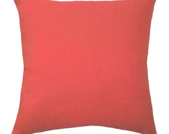 STUFFED Coral Pillow, Coral Pillows, Solid Coral Decorative Pillow, Coral Throw Pillow, Solid Coral Accent Pillow - Free Ship