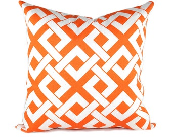 Boxed In Tangerine Orange and White Outdoor Decorative Throw Pillow -- Free Shipping
