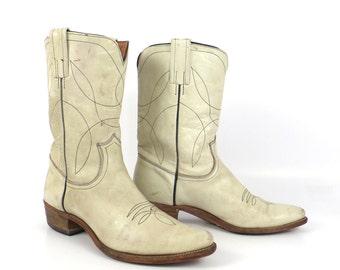 White Frye Boots Vintage 1960s Cowboy 7 C