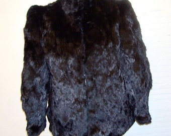 Rabbit Fur Coat Vintage 1970s Jacket Black Women's size M