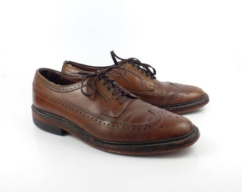 Brown Oxford Shoes Leather Vintage 1960s  Men's size 9 1/2 D