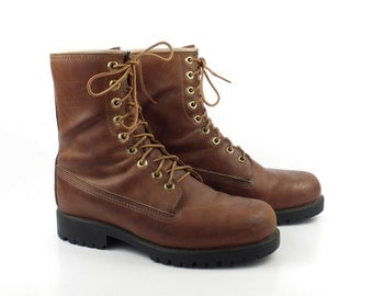 Wolverine Boots 1980s Brown Lace Up Leather men's size 6 1/2