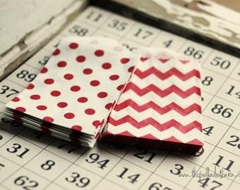mini red chevron bags, set of 10