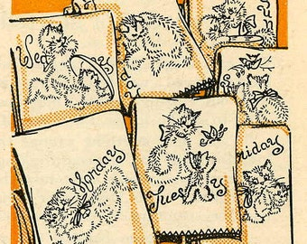 Vintage Hand Embroidery PATTERN PDF File Kittens for Days of the Week Kitchen Towels taken from 1960s Work Basket Instant Download
