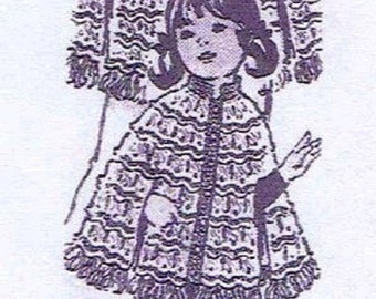 1960s Crochet PATTERN 969 Mother Daughter Broom Stick Lace PDF format instant Download