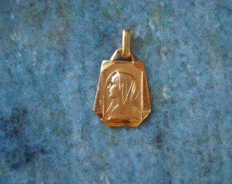 Antique Gold French Holy Virgin Mother Mary Religious Catholic Pendant Medal