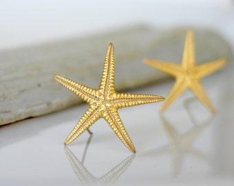 Starfish Gold Post Earrings-Gold on Brass-Small size 30mm diameter