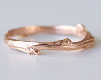 Twig Ring 14k Rose Gold - Recycled Gold Ring Band - Tree Branch Band - Bohemian Ring - Feminine Wedding Band - Earthy Wedding Band