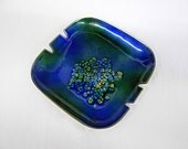 Vintage Bovano Enamel on Copper Dish Ashtray, Blue, Green