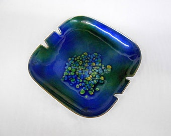 Vintage Bovano Enamel on Copper Dish Ashtray, Blue, Green