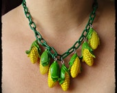Corn Plastic Chain Vintage Veggie Necklace and Earrning SET