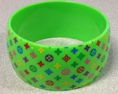 1980s DIAMONDS and FLOWERS Wide Fashion Bracelet in GREEN