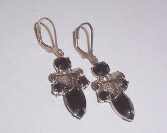 Upcycled 1950s Black and Silver Earrings - Pierced
