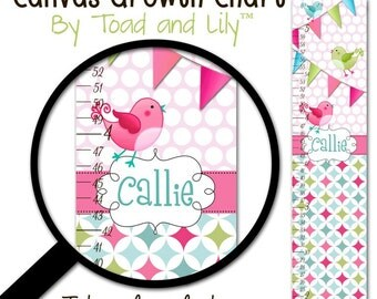 Canvas GROWTH CHART Birds and Bunting Girls Bedroom Baby Nursery Wall Art GC0040