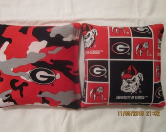 University of Georgia Bulldogs Camo Cornhole Bags Set of 8 -  Baggo Bean Bag Set GA Bulldogs Tailgate Toss