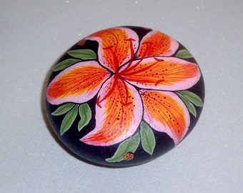 OOAK unique 3D art object for home or office-stargazer daylily-gift ideas-gardener teacher coworker best friend-painted rocks-garden decor