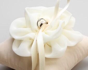 Ivory ring pillow, wedding ring bearer, bridal flower ring pillow - Adina