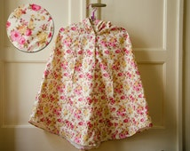 English Rose Raincoat, Womens Floral Rain Cape with Hood, Cream and Pink Roses, Gift For Her