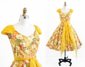 vintage 1950s dress / 50s dress / Marigolds Party Dress with Chiffon Sash