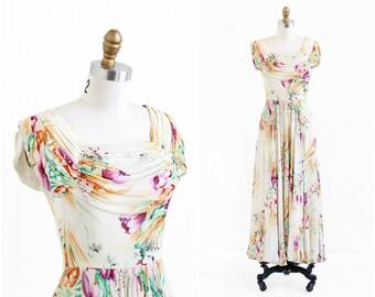 vintage 1940s dress / 1930s gown / Buttercream Floral Chiffon Evening Gown
