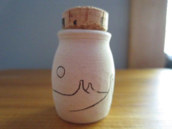 Full Moon Desert Landscape Ceramic Jar Stash Bottle with Cork Lid