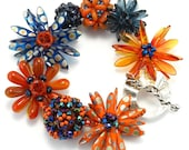 Orange and Navy Flower Bracelet, Sunset Romance