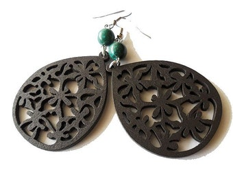 Dark Brown Wooden Earrings with Teal Green Stone, boho, hippie